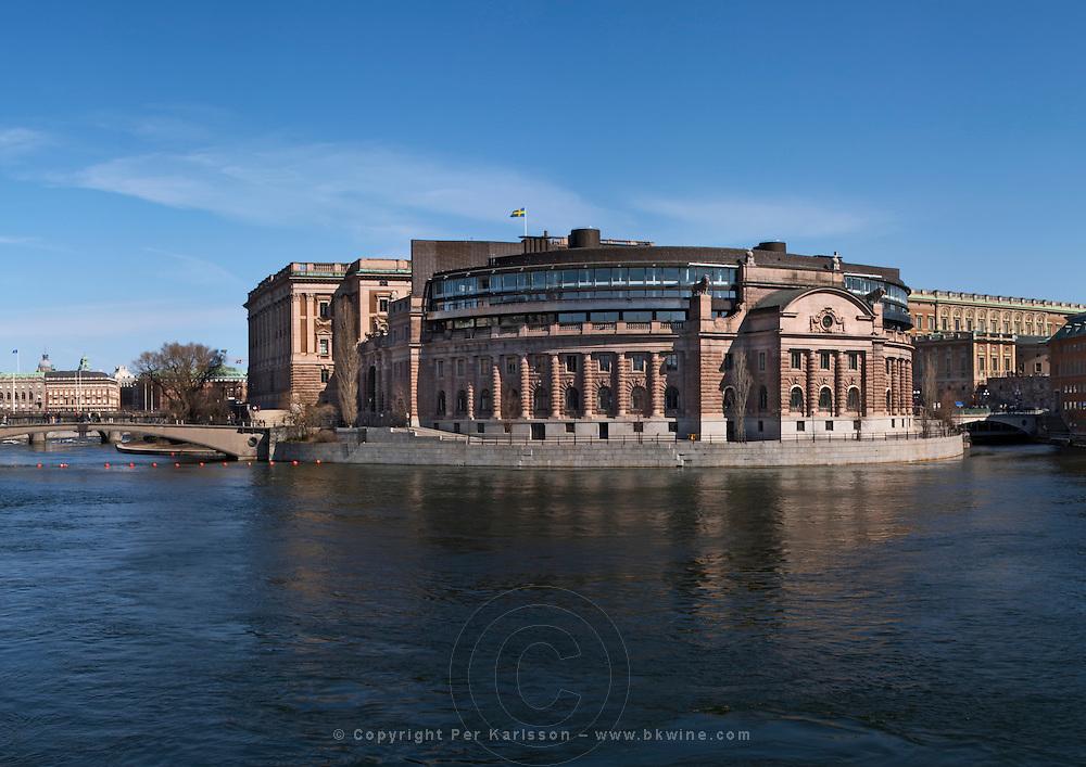 View over Strommen. The Riksdagshuset, the Swedish parliament building. Stockholms Ström water. Stockholm. Sweden, Europe.
