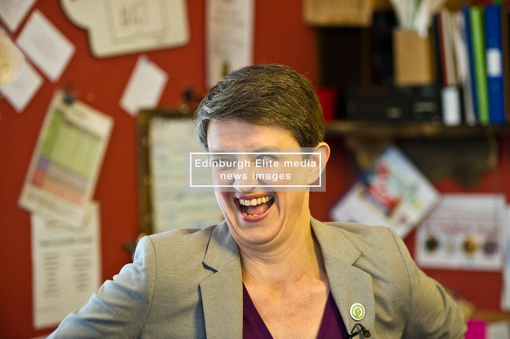 Pictured: Maggie Chapman is looking forward to loacl and national elections<br /> <br /> Scottish Green Party co-convenor Maggie Chapman and local candidate Claire Miller visited the Shrub Swap and Reuse Hub in Edinburgh today as part of the local election campaign. They met Sarah Beattie-Smith, Outreach and communications facilitator, Jess Acton, Food Sharing facilitator and Board Member, Olivia Nathan<br /> Ger Harley | EEm 20April 2017