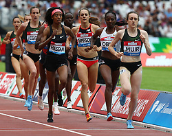 July 22, 2018 - London, United Kingdom - L-R Sifan Hassan of Netherlands Jenny Simpson of USA Hellen Obiri of Kenya and Laura Muir of Great Britain and Northern Ireland Compete in the 1 Mile Women Millicent Fawcett during the Muller Anniversary Games IAAF Diamond League Day Two at The London Stadium on July 22, 2018 in London, England. (Credit Image: © Action Foto Sport/NurPhoto via ZUMA Press)