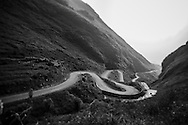 Road snakes through the mountainous landscape between Dong Van and Meo Vac districts of Ha Giang Province, Vietnam, Southeast Asia