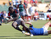 Innocent Simiyu of Kenya over for a try during the IRB Rugby Sevens tournament held at Adelaide Oval,Adelaide, South Australia,Saturday, April 5, 2008.<br /> Photo;Michael Oakes/SMP<br /> Conditions of Use: This image is intended for editorial use only (EG: news or commentary, print or electronic).  Any commercial or promotional use requires additional clearance.  Please contact for details.