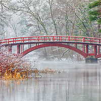 Sargent Bridge, is a red wooden arch bridge surrounded by a winter wonderland, located in the Town of Natick, Massachusetts.  <br /> <br /> South Natick winter photography images are available as museum quality photography prints, canvas prints, acrylic prints or metal prints. Prints may be framed and matted to the individual liking and room decor needs:<br /> <br /> https://juergen-roth.pixels.com/featured/snow-covered-sargent-footbridge-in-natick-massachusetts-juergen-roth.html<br /> <br /> Good light and happy photo making!<br /> <br /> My best,<br /> <br /> Juergen