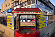 Decaying wishing well in front of guest houses closed during the pandemic on 21st April 2021 in Blackpool, Lancashire, United Kingdom. The sign Welcome to Blackpool has a sad resonance in this bleak scene.