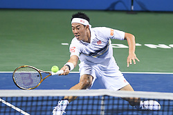 August 2, 2018 - Washington, D.C, U.S - KEI NISHIKORI hits a forehand during his 3rd round match at the Citi Open at the Rock Creek Park Tennis Center in Washington, D.C. (Credit Image: © Kyle Gustafson via ZUMA Wire)
