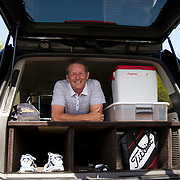 Bob Niger in his customized SUV that he uses to travel between tournaments on the Golden State Golf Tour.
