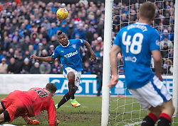 Rangers' Alfredo Morelos misses a chance to score during the William Hill Scottish Cup, fifth round match at Somerset Park, Ayr.