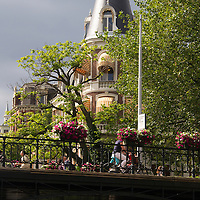 Europe, Netherlands, Amsterdam. Amsterdam Bridge Corner.