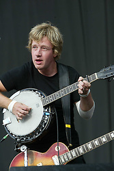Andy Dunlop, of the Scottish band Travis, plays his banjo on the main stage on Sunday 10th July, 2005 at the two-day T in the Park festival, at Balado, Kinross-shire, Scotland..