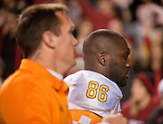 Nov 12, 2011; Fayetteville, AR, USA;  Tennessee Volunteers defensive linemen Willie Bohannon (86) is escorted to the locker room during a game against the Arkansas Razorbacks at Donald W. Reynolds Razorback Stadium. Arkansas defeated Tennessee 49-7. Mandatory Credit: Beth Hall-US PRESSWIRE