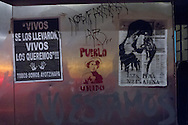 Graffiti and posters after a demonstration in favor of the 43 missing students of the Ayotzinapa case in Guerrero state.