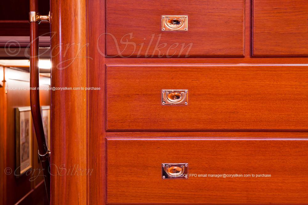 Interior details onboard S/Y Axia.