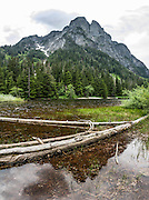 Hike Barclay Creek Trail to Barclay Lake under Baring Mountain, near Baring, US Highway 2, Washington, USA. This image was stitched from 9 overlapping photos.