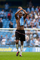 Photo. Glyn Thomas.Digitalsport<br /> Manchester City v Fulham. <br /> Barclays Premiership. 14/08/2004.<br /> Fulham's Zat Knight thanks the away fans for their support.