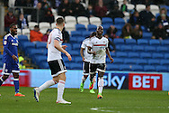 Neeskens Kebano (c) of Fulham celebrates with his teammates  after he scores his teams 2nd goal. EFL Skybet championship match, Cardiff city v Fulham at the Cardiff city stadium in Cardiff, South Wales on Saturday 25th February 2017.<br /> pic by Andrew Orchard, Andrew Orchard sports photography.