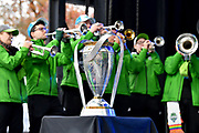 The Seattle Sounders band, Sound Wave, perform behind the MLS Cup trophy, on display at the MLS Cup Champions Parade & Rally on November 12, 2019 in Seattle, Washington, to celebrate the Sounders' win over Toronto FC to win the MLS Cup soccer match in Seattle. (Alika Jenner/Image of Sport)