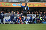 Fleetwood Town goalkeeper Alex Cairns (1) celebrating and jumping in the air during the EFL Sky Bet League 1 match between AFC Wimbledon and Fleetwood Town at the Cherry Red Records Stadium, Kingston, England on 8 February 2020.