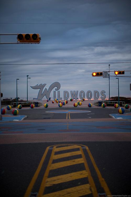 Grey clouds over the Wildwoods boardwalk sign, Wildwood NJ.
