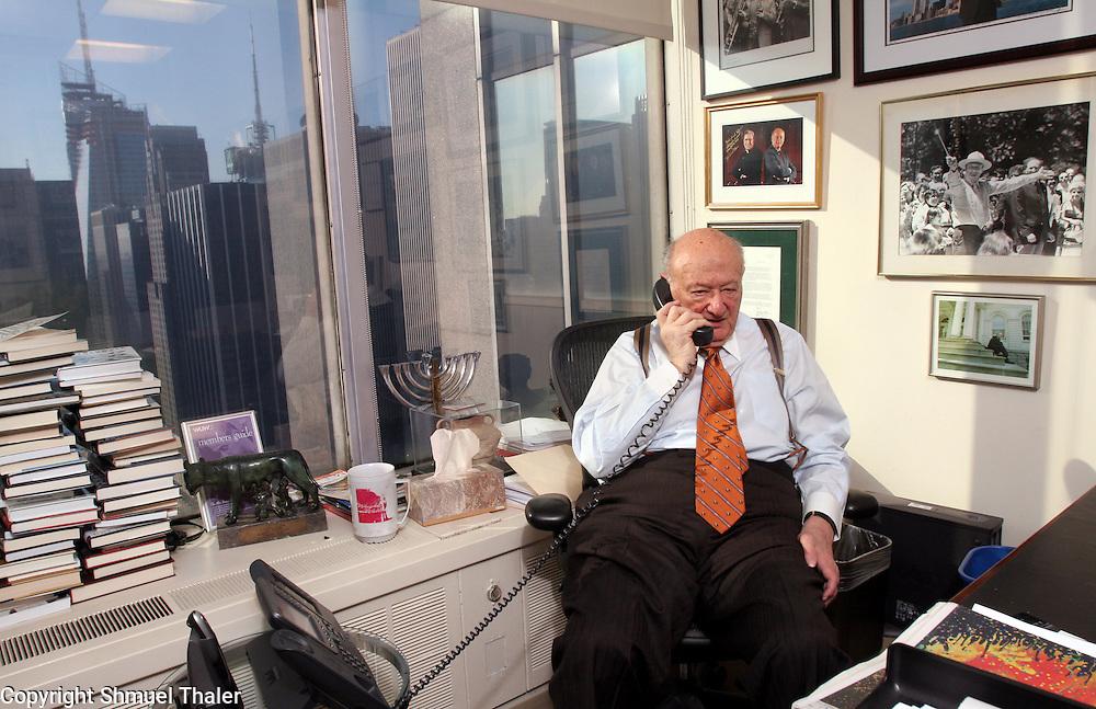 Former New York City mayor Ed Koch at work in his office at Bryan Cave, LLC above midtown Manhattan in New York, New York on Thursday December 27, 2007.<br /> Photo by Shmuel Thaler <br /> shmuel_thaler@yahoo.com www.shmuelthaler.com
