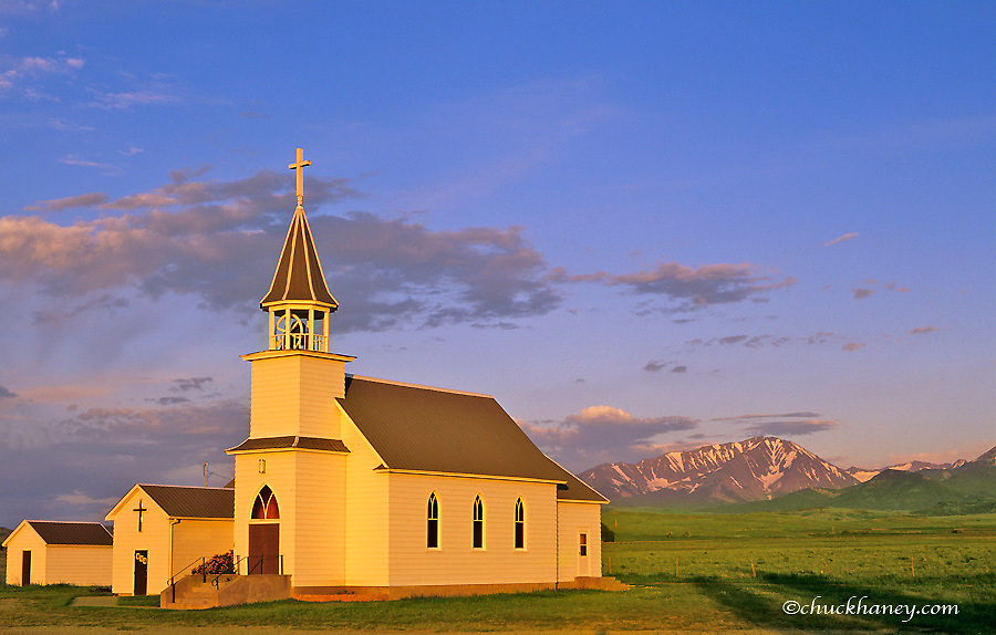 Melville Lutheran Church with the Crazy Mountains in background near Big Timber, Montana, USA