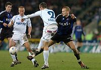 GENK 16/01/2004 <br /> SPORT / FOOTBALL / VOETBAL / <br /> KRC GENK - CLUB BRUGGE / KRC GENK - CLUB BRUGES / <br /> INDRIDI SIGURDSSON - RUNE LANGE<br /> Photo: Digitalsport