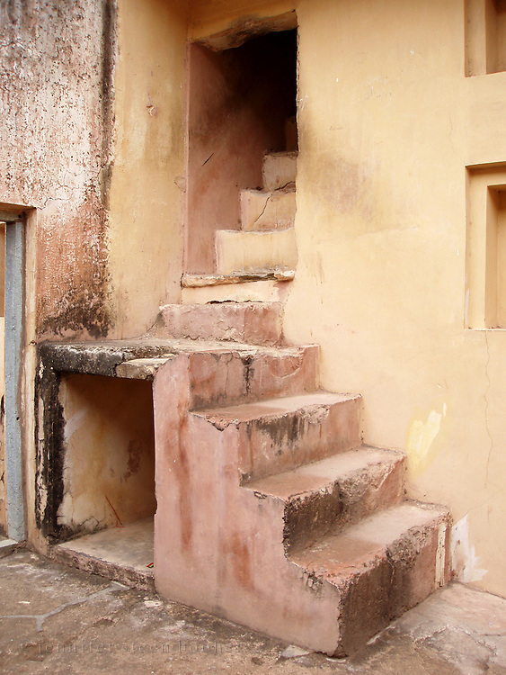 Back stairs in the Amber Palace, Amer, Rajasthan.