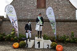Podium-R07-M1, Gios Marieke, Van Looveren Annelies, Willems Ellen<br /> Nationaal Kampioenschap LRV <br /> Paarden Dressuur - Oudenaarde 2020<br /> © Hippo Foto - Dirk Caremans<br /> 04/10/2020