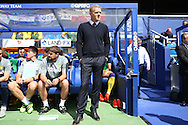 Garry Monk, the Leeds United manager looks on from the dugout before k/o. Skybet EFL championship match, Queens Park Rangers v Leeds United at Loftus Road Stadium in London on Sunday 7th August 2016.<br /> pic by John Patrick Fletcher, Andrew Orchard sports photography.