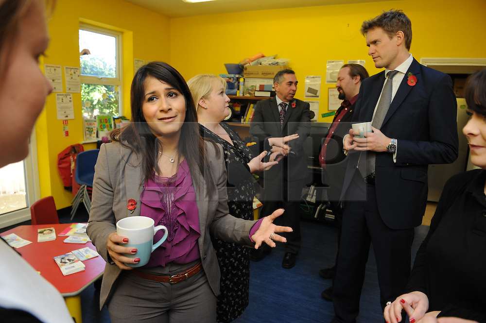© Licensed to London News Pictures. 10/11/2014<br /> Tristram Hunt MP  (R)<br />  Naushabah Khan, Labour's local Parliamentary Candidate<br /> <br /> Labour's Shadow Education Secretary Tristram Hunt MP  visiting City Way Nursery in Rochester & Strood in Kent this morning (10.11.2014) Meeting parents and staff  to talk about the area's school crisis, with two in five local primaries failing. He will be accompanied by Naushabah Khan, Labour's local Parliamentary Candidate and will also meet the Vice Principal of Strood Academy Scott Daly.<br /> <br /> <br /> <br /> (Byline:Grant Falvey/LNP)
