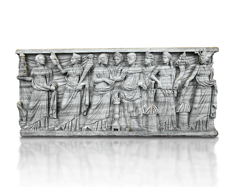 Roman relief sculpture on a sarcophagus side showing a married couple with pagan deities, circa 270 - 280 AD from the via Latina, Rome, Italy. National Roman Musuem, Rome. .<br /> <br /> If you prefer to buy from our ALAMY PHOTO LIBRARY  Collection visit : https://www.alamy.com/portfolio/paul-williams-funkystock/roman-museum-rome-sculpture.html<br /> <br /> Visit our ROMAN ART & HISTORIC SITES PHOTO COLLECTIONS for more photos to download or buy as wall art prints https://funkystock.photoshelter.com/gallery-collection/The-Romans-Art-Artefacts-Antiquities-Historic-Sites-Pictures-Images/C0000r2uLJJo9_s0