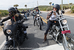 Leticia Cline (L) and Kissa Von Addams of the Iron Lillies riding through Tomoka State Park during Daytona Bike Week 75th Anniversary event. FL, USA. Thursday March 3, 2016.  Photography ©2016 Michael Lichter.