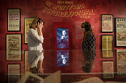 People interact with exhibits in the British Library, London during the opening of Victorian Entertainments: There Will Be Fun which explores popular Victorian entertainments which have shaped the theatrical traditions of today.