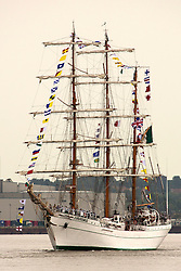 © Licensed to London News Pictures. 07/06/2016. The Mexican Navy's Sail Training Ship ARM Cuauhtemoc has arrived on the Thames for a port visit which will see her open to the public in West India Docks this weekend. Credit: Rob Powell/LNP