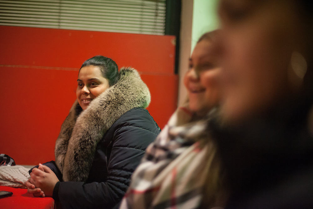 Volunteer Anastazie Baudycka (28) during a meeting with volunteers for data collection regarding school enrolments in a backroom of a bar in Ostrava.