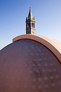 The roof of Cambell Hall at UC Berkeley (California) with a 14 inch telescope. The University Campanile is in the background. Geoff Marcy and his team have detected a large number of exoplanets using data collected from large telescopes at other sites.  Exoplanets & Planet Hunters