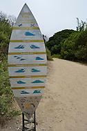 Surfer's Code at beach access trail just off the Pacific Coast Highway (US 101) near Carpinteria, California.