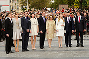 Marriage Civil wedding of Grand Duke Guillaume and Princess Stephanie at Hotel de Ville in Luxembourg.<br /> <br /> On the photo: Grand Duke Guillaume and Princess Stephanie with their family