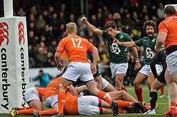 March 4, 2017 - Amsterdam, Netherlands - Tomas Appleton of Portugal celebrates a Portugal try during the Rugby Europe Trophy match between the Netherlands and Portugal at the National Rugby Centre Amsterdam on March 04, 2017 in Amsterdam, Netherlands  (Credit Image: © Andy Astfalck/NurPhoto via ZUMA Press)