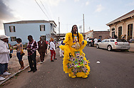 New Orleans, Louisiana, February 21, 2012, The Yellow Pocahontas Mardi Gras Indians come out on Mardis Gras Day in their traditional costumes.