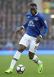 """EMBARGOED UNTIL 0900 THURSDAY APRIL 13, 2017 File photo dated 18-03-2017 of Everton's Romelu Lukaku who is one of the Men's PFA Young Player of the Year 2017 nominees. PRESS ASSOCIATION Photo. Picture date: Saturday March 18, 2017. See PA story SOCCER Everton. Photo credit should read: Martin Rickett/PA Wire. RESTRICTIONS: EDITORIAL USE ONLY No use with unauthorised audio, video, data, fixture lists, club/league logos or """"live"""" services. Online in-match use limited to 75 images, no video emulation. No use in betting, games or single club/league/player publications. PRESS ASSOCIATION Photo. Issue date: Thursday April 13, 2017. See PA story SOCCER PFA. Photo credit should read Martin Rickett/PA Wire."""
