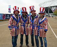 American fans hoping that their team can find Rocky's fighting spirit during the Rugby World Cup Pool B match between South Africa and USA at the Queen Elizabeth II Olympic Park, London, United Kingdom on 7 October 2015. Photo by Matthew Redman.