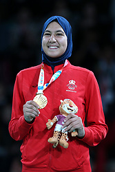 BUENOS AIRES, Oct. 12, 2018  Gold medalist Fatima-Ezzahra Aboufaras of Morocco attends the awarding ceremony of the women's +63kg taekwondo event at the 2018 Summer Youth Olympic Games in Buenos Aires, Argentina on Oct. 11, 2018. (Credit Image: © Li Ming/Xinhua via ZUMA Wire)