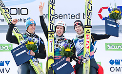 20.03.2010, Planica, Kranjska Gora, SLO, FIS SKI Flying World Championships 2010, Flying Hill Individual 3rd Round, im Bild Podium im Skiflug Einzelbewerb v.l. zweitplazierte Gregor Schlierenzauer, ( AUT, #28 ), Simon Ammann, ( SUI, #30 ), Weltmeister Ski Flug 2010 und drittplazierte Anders Jacobsen, ( NOR, #23 ), EXPA Pictures © 2010, PhotoCredit: EXPA/ J. Groder / SPORTIDA PHOTO AGENCY
