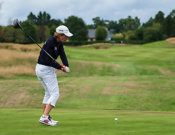 Gleneagles, Scotland, UK; 8 August, 2018.  European Championships 2018. Day one of golf competition at Gleneagles..Men's and Women's Team Championships Round Robin Group Stage - 1st Round. Four Ball Match Play format. Match 13 Great Britain 2 v Sweden 1 Ladies. Catriona Matthew and Holly Clyburn won 3 and 2. Catriona Matthew tees off on the 14th hole tees off on the 14th hole