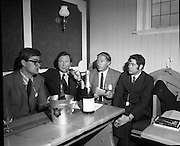 The Bollinger Bar at Phoenix Park..1972..07.10.1972..10.07.1972..7th October 1972..As part of the Phoenix Park races Bollinger opened a bar to facilitate the Champagne tastes of the racegoers...Pictured sampling the delights of the Bollinger Bar at Phoenix Park were (L-R) Mr Colin Foster,Mr Tom Whelehan, Mr Searson and Mr Williams all directors of Irish Vitners Ltd.