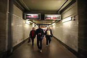 Corridors leading to the platforms of the old Prague main railway station (PRAHA Hlavni Nadrazi).