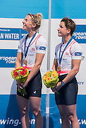 Poznan. Poland. GBR LW2X, Bow Charlotte TAYLOR and Kat COPELAND, Gold Medalist Lightweigh Women's Double Scull. Finals day at the FISA 2015 European Rowing Championships. Venue Lake Malta. 31.05.2015. [Mandatory Credit: Peter Spurrier/Intersport-images]