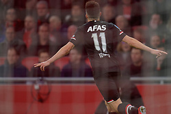 /aj24 and Oussama Idrissi #11 of AZ Alkmaar in action during the Dutch Eredivisie match round 25 between Ajax Amsterdam and AZ Alkmaar at the Johan Cruijff Arena on March 01, 2020 in Amsterdam, Netherlands