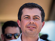 13 AUGUST 2019 - DES MOINES, IOWA: PETE BUTTIGIEG at the Des Moines Register Political Soap Box. Buttigieg, the Mayor of South Bend, Indiana, is running to be the Democratic nominee for the US presidency. He spoke at the Des Moines Register Political Soap Box at the Iowa State Fair and then toured the fairgrounds. Iowa has the first event of the presidential selection cycle. The Iowa Caucuses are February 3, 2020.               PHOTO BY JACK KURTZ