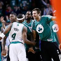 08 March 2013: Boston Celtics shooting guard Jason Terry (4) celebrates with Boston Celtics shooting guard Terrence Williams (55) and Boston Celtics power forward Shavlik Randolph (42) during the Boston Celtics 107-102 OT victory over the Atlanta Hawks at the TD Garden, Boston, Massachusetts, USA.
