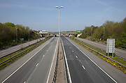 A deserted M11 motorway near London during the Covid 19 crisis seen on 16th April 2020, in London, United Kingdom. The government has advised against all but essential travel so roads are much quieter than usual, mainly being used for freight.